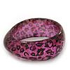 Black/Magenta 'Animal Print' Glittering Resin Bangle Bracelet - up to 18cm wrist