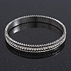 Burn Silver Diamante Bangle Bracelet - up to 18cm Length