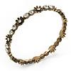 Slim Burn Gold Clear Crystal Floral Bangle Bracelet - up to 21cm Length