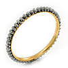 Slim Metallic Silver Glass Bangle Bracelet In Gold Plating - up to 18cm Length