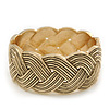 Oval Textured Braided Hinged Bangle Bracelet In Burn Gold Finish - up to 19cm Length