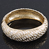 Gold Plated Snake Print White Enamel Hinged Bangle Bracelet - 18cm Length