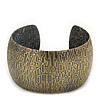 Brushed Gun Metal 'Afrikana' Silhouette Cuff Bracelet - up to 18cm Length