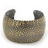 Brushed Gun Metal 'Daisy Droplets' Silhouette Cuff Bracelet - up to 18cm Length