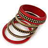 Vintage Burn Gold/ Carmine Red Studded Wood Set Of 7 Bangles - 18cm Length