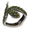 Vintage Burn Silver Olive Glass/Crystal Bead 'Snake' Hinged Bangle - 18cm Length