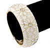 White Enamel 'Daisy' Hinged Bangle Bracelet In Gold Plating - 19cm Length