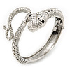 Sleek Swarovski Crystal Snake Hinged Bangle Bracelet In Rhodium Plating