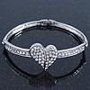 Clear Diamante 'Heart' Bracelet In Rhodium Plating - 17cm Length