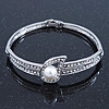 Stylish Crystal, Simulated Pearl 'Teardorp' Bracelet In Rhodium Plating - up to 17cm Length