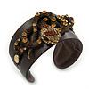 Crystal Coiled Snake Dark Brown Leather Flex Cuff Bracelet - Adjustable