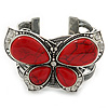 Large Red Ceramic 'Butterfly' Cuff Bracelet In Silver Plating