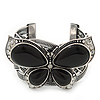 Large Black Ceramic 'Butterfly' Cuff Bracelet In Silver Plating
