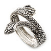 Burn Silver Vintage Inspired Textured Coiled Snake Hinged Bangle Bracelet - 18cm Length