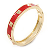 Red Enamel Square Pyramid Stud Hinged Bangle Bracelet In Gold Plating - 19cm Length