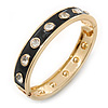 Black Enamel Crystal Hinged Bangle Bracelet In Gold Plating - 19cm Length