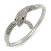 Clear Austrian Crystal Snake Bangle Bracelet In Rhodium Plaiting - 19cm L