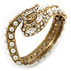 Vintage Inspired Imitation Pearl, Austrian Crystal Snake Hinged Bangle In Gold Tone - 19cm L