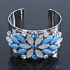 Rhodium Plated Light Blue/ Milky White Acrylic Bead, Crystal Floral Cuff Bangle - up to 19cm Length