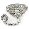Statement Rhodium Plated Chunky Crystal Hinged Bangle With Oval Crystal Ring Attached - 18cm Length, Ring Size 7/8