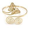 Gold Plated Filigree, Crystal Butterfly & Twirl Upper Arm, Armlet Bracelet - Adjustable