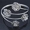 Rhodium Plated Crystal Floral Upper Arm Bracelet - Adjustable