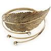 Vintage Inspired Hammered, Crystal Leaf Upper Arm, Armlet Bracelet In Antique Gold Tone - Adjustable
