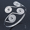 Greek Style Swirl Upper Arm, Armlet Bracelet In Silver Plating - Adjustable