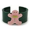 Dark Green, Pink Crystal Acrylic 'Gingerbread Man' Cuff Bracelet - 19cm L
