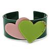 Dark Green, Pink, Salad Green Acrylic, Austrian Crystal Hearts Cuff Bracelet - 19cm L