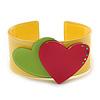 Yellow, Magenta, Salad Green Acrylic, Austrian Crystal Hearts Cuff Bracelet - 19cm L