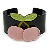 Black, Light Green, Pink Crystal Cherry Acrylic Cuff Bracelet - 19cm L