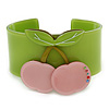 Light Green, Pink Crystal Cherry Acrylic Cuff Bracelet - 19cm L
