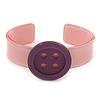 Light Pink, Purple Acrylic Button Cuff Bracelet - 19cm L