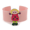 Light Pink, Yellow, Deep Pink, Green Dolly Acrylic Wide Cuff Bracelet - 19cm L