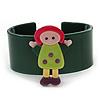 Dark Green, Yellow, Light Green, Purple, Pink Dolly Acrylic Wide Cuff Bracelet - 19cm L