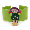 Light Green, Yellow, Pink Dolly Acrylic Wide Cuff Bracelet - 19cm L