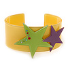 Yellow Acrylic Cuff Bracelet With Crystal Double Star Motif (Purple, Light Green) - 19cm L