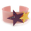 Light Pink Acrylic Cuff Bracelet With Crystal Double Star Motif (Purple, Yellow) - 19cm L