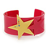 Deep Pink Acrylic Cuff Bracelet With Crystal Double Star Motif (Deep Pink, Yellow) - 19cm L