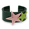 Dark Green Acrylic Cuff Bracelet With Crystal Double Star Motif (Pink, Light Green) - 19cm L