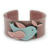 Beige, Pink, Light Blue Acrylic, Austrian Crystal Dove Cuff Bracelet - 19cm L