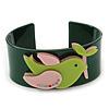 Dark Green, Pink, Salad Green Acrylic, Austrian Crystal Dove Cuff Bracelet - 19cm L