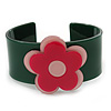 Dark Green, Light Pink, Deep Pink 'Modern Flower' Acrylic Cuff Bracelet - 19cm L
