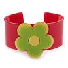 Deep Pink, Yellow, Light Green 'Modern Flower' Acrylic Cuff Bracelet - 19cm L