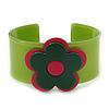 Green, Deep Pink 'Modern Flower' Acrylic Cuff Bracelet - 19cm L