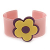 Light Pink, Purple, Yellow 'Modern Flower' Acrylic Cuff Bracelet - 19cm L