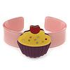 Light Pink, Purple, Yellow Acrylic, Austrian Crystal Cupcake Cuff Bracelet - 19cm L