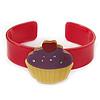 Deep Pink, Yellow, Purple Acrylic, Austrian Crystal Cupcake Cuff Bracelet - 19cm L