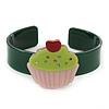 Dark Green, Light Pink, Light Green Acrylic, Austrian Crystal Cupcake Cuff Bracelet - 19cm L